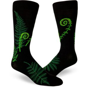 Ferns and fiddleheads nest on these black crew socks for men.