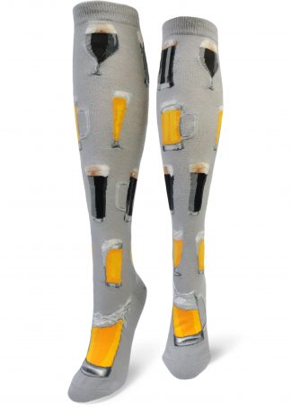 Women's gray knee socks with beer-filled mugs