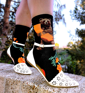 California bear socks with a bear hugging the state of CA and California poppy flowers by ModSocks.