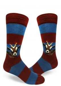 red and blue striped mens crew sock with goats