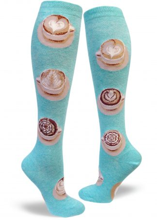 Women's aqua knee socks with latte cups