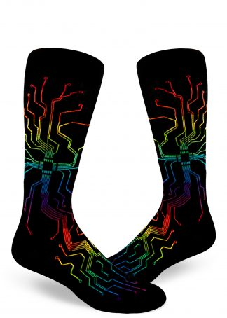 Rainbow wires in a circuit board branch into a pattern on these black men's crew socks.