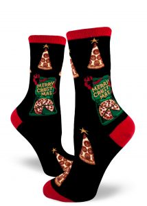 "Pizza boxes say ""Merry Crustmas"" and pizza slices look like Christmas trees on these Christmas pizza socks for women."