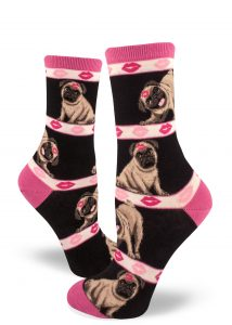Funny pugs have lipstick kisses on their heads on these pink and black crew socks for women.