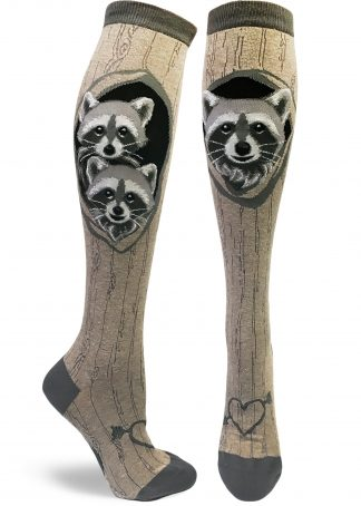 Womens knee socks with cute raccoons in a tree