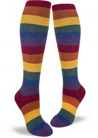 A muted heather rainbow stripe knee sock for women.