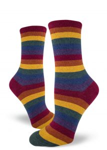 A muted heather rainbow stripe crew sock for women.