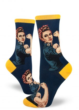 Rosie the Riveter flexes her muscle on these navy women's crew socks.
