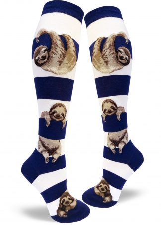 Womens blue and white striped knee socks with sloths hanging from stripes