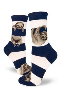 Sloth socks in navy stripe