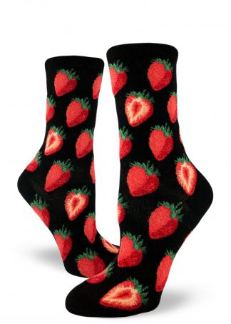 Sweet strawberries make up this black women's crew sock.