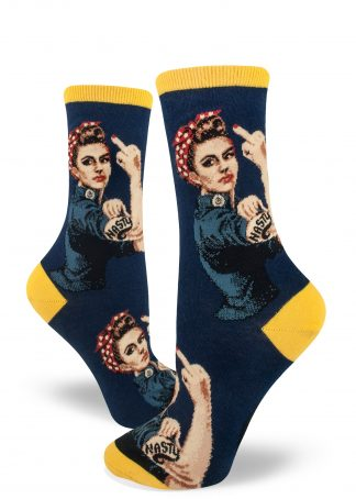 White Rosie the Riveter with a bicep tattoo that says NASTY flips the bird on navy women's crew socks.