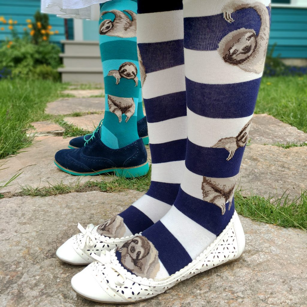 Sloth socks by ModSocks in teal striped sock style.