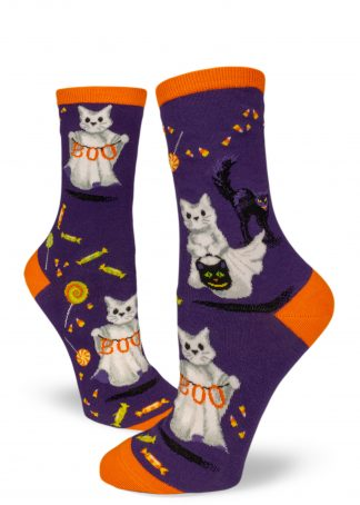 Halloween socks with ghost cats aka Catspurr trick-or-treating with Halloween candy by ModSocks.