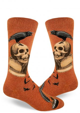 Raven and skull socks for men aka Nevermore in Edgar Allen Poe style by ModSocks.