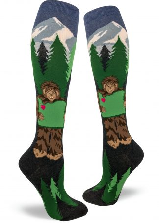 Sasquatch holds Oregon State knee socks by ModSocks.