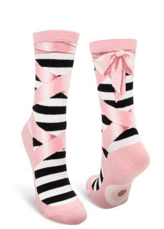 Pink ballet slipper crew socks.