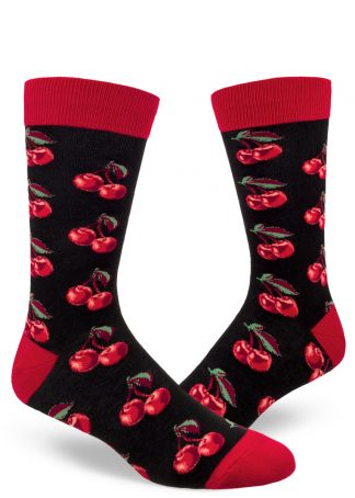 Black men's socks with a pattern of bright red cherries.