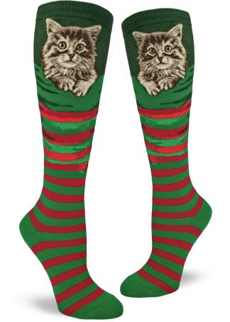 Christmas kitten knee socks with a fluffy little cat in a red and green stocking.