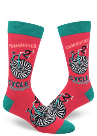 "Funny men's socks with the words ""Committed Cycle Therapy"" and a bicycle graphic in red and teal."