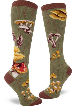 Mushroom knee socks in moss green