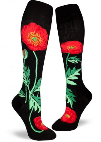 Bold poppy knee high socks in black by ModSocks.
