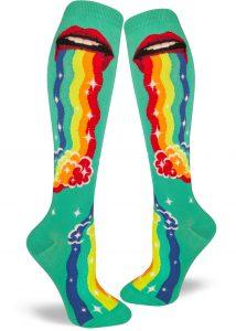 Puking rainbow socks in knee high with rainbow puke waterfall by ModSocks.
