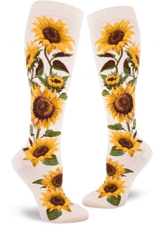 Sunflower knee socks with a yellow and green floral design on a cream background.
