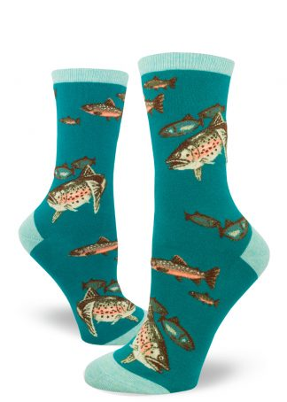 Fishing socks for women in a deep teal color covered in trout fish.