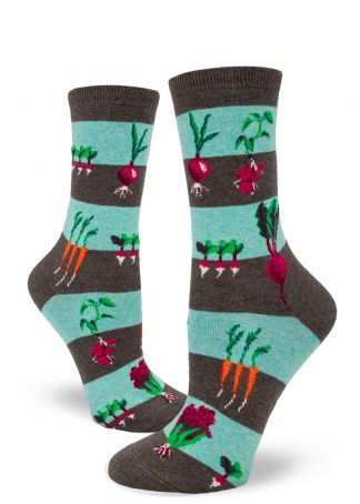 Striped socks in brown and aqua with a pattern of garden vegetables.